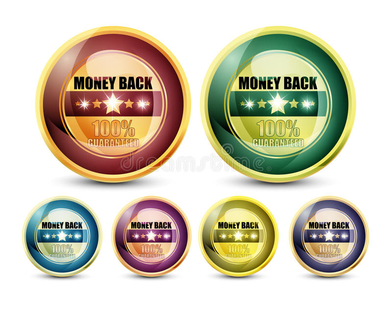 100% Guaranteed Money Back. Colorful 100% Guaranteed Money Back Button Set on white background royalty free illustration