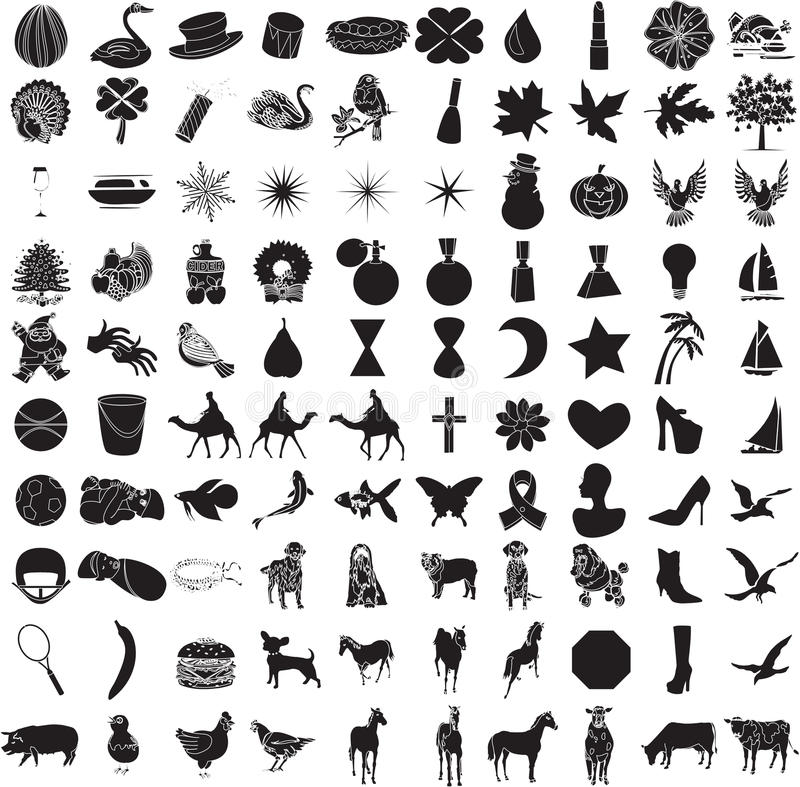 Download 100 Icon Set 2 stock vector. Image of chicken, cattle - 12328618