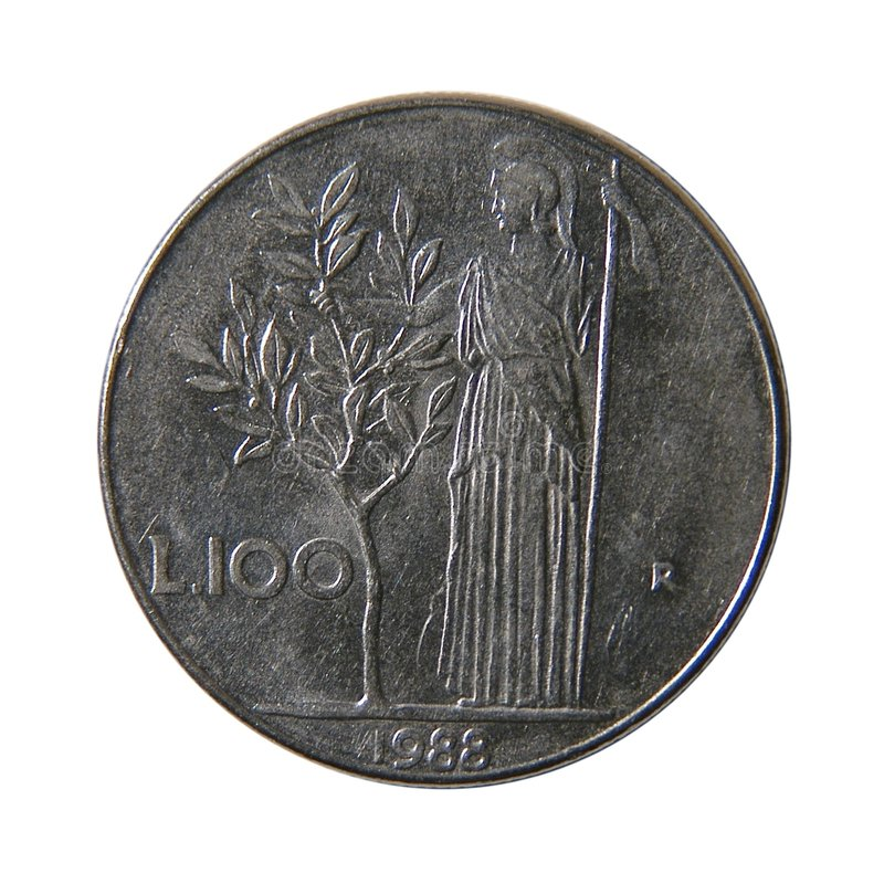 100 liras italianas imagens de stock