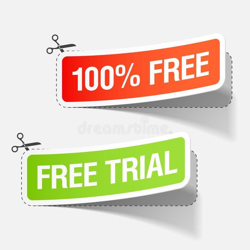 100% livre e etiquetas da experimentação livre ilustração stock