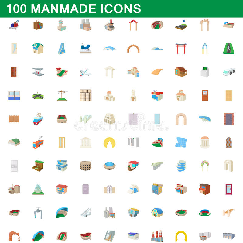 Free 100 Manmade Icons Set, Cartoon Style Royalty Free Stock Images - 96179289