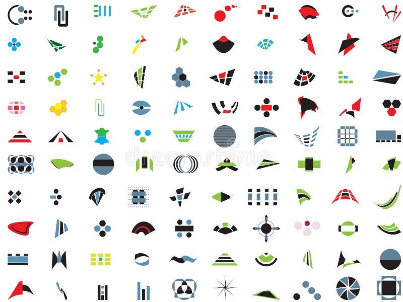 100 marchi ed elementi di vettore illustrazione vettoriale