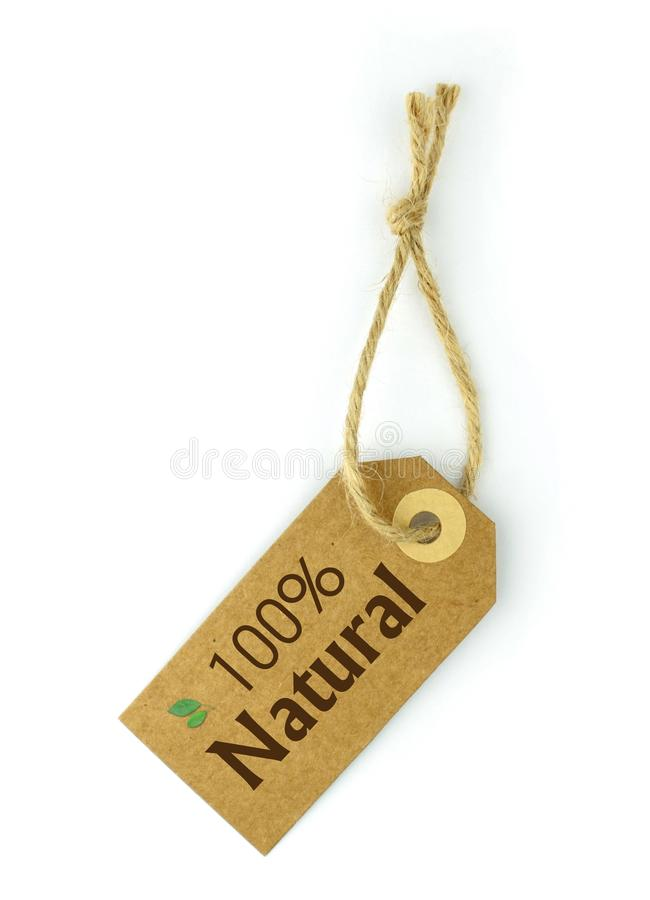 100% Natural Label. And 100% Natural text on label royalty free stock image