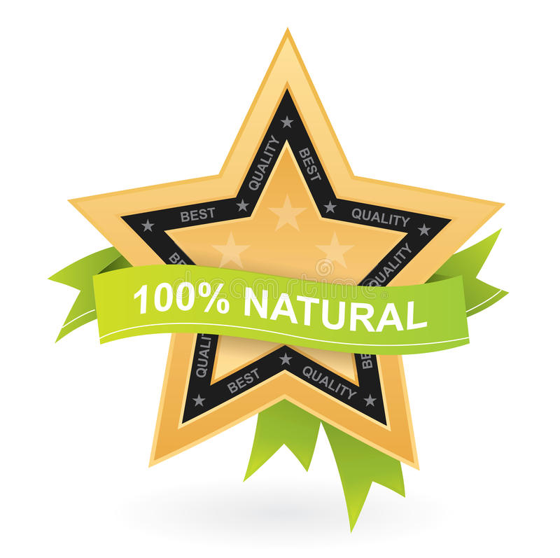 Download 100% Natural Promotional Sign - Gold Star W Stock Vector - Illustration: 17637758