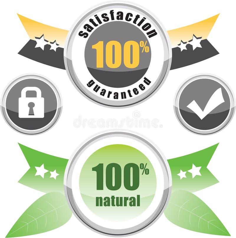 100% natural, satisfação garantida ilustração stock