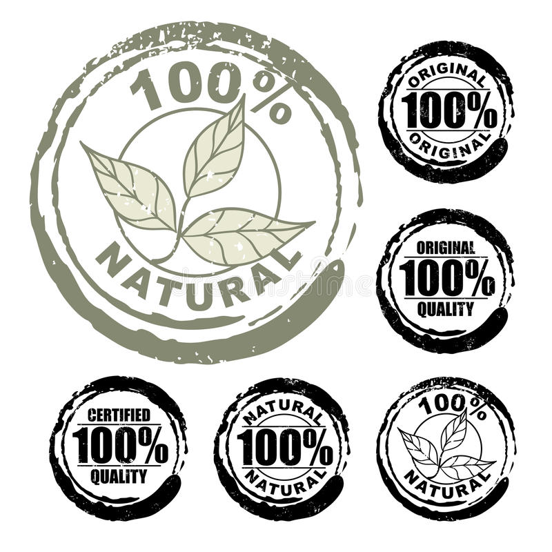 100% natural stamp stock illustration