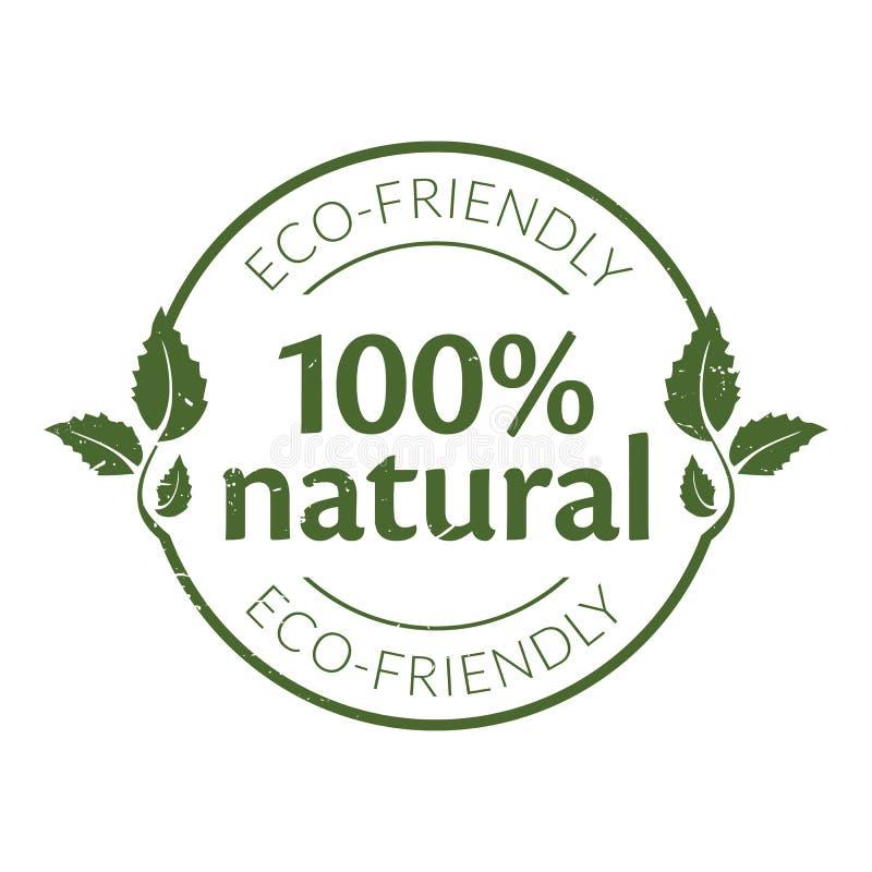 100% naturalnych pieczątek ilustracja wektor