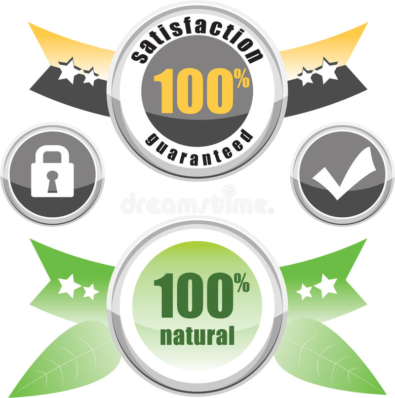 100% normal, satisfaction garantie illustration stock