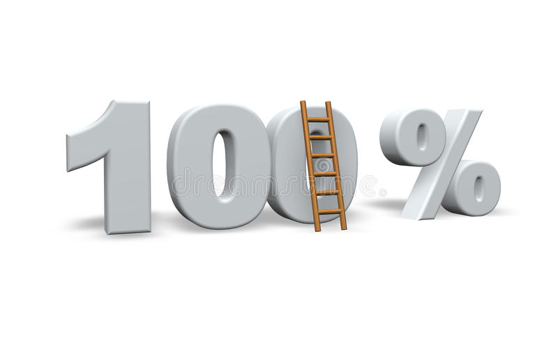 100 per cent. 0ne hundred per cent and a ladder - 3d illustration vector illustration