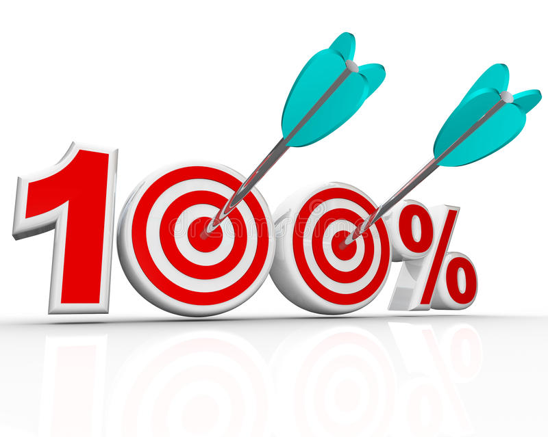 100 Percent Arrows in Targets Perfect Score. The number 100 percent with arrows shooting into the bulls-eye targets representing success in achieving your total