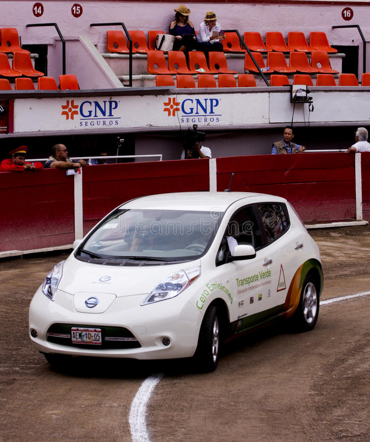 100 percent electric car Nissan LEAF stock image