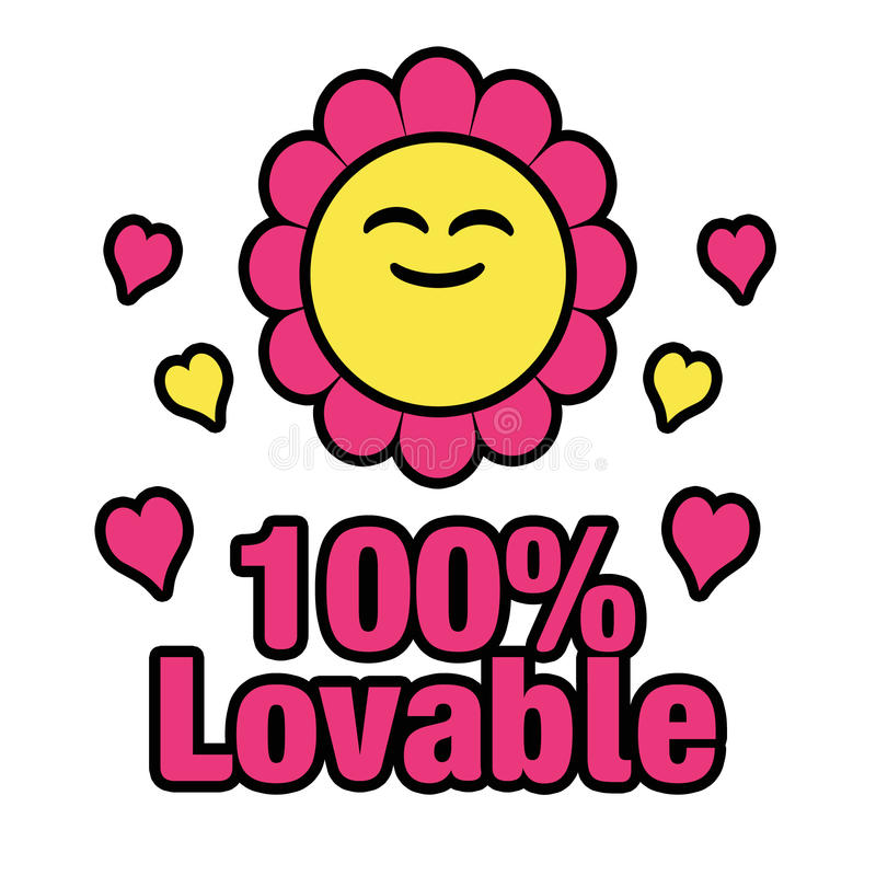 100 Percent Lovable. A cute flower design with text message vector illustration