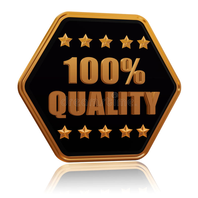 100 percentages quality five star hexagon button royalty free illustration