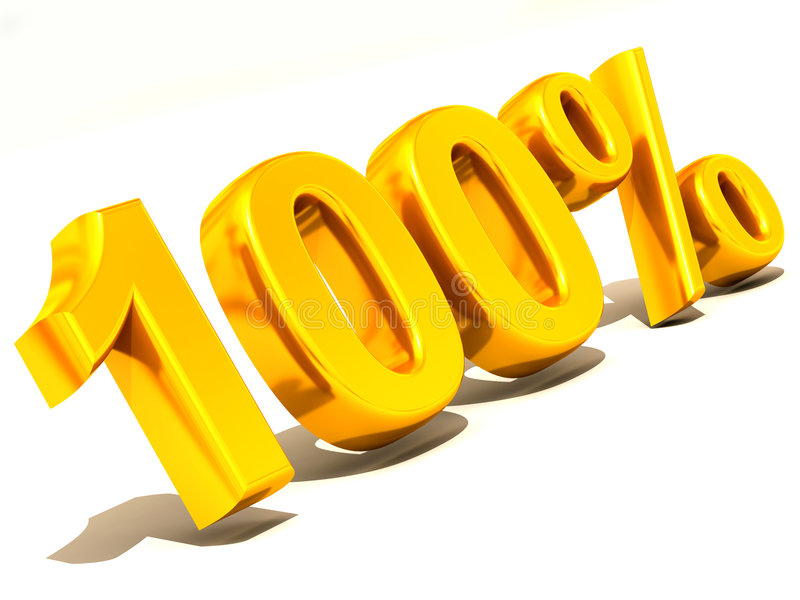 100 percenten. 3d vector illustratie