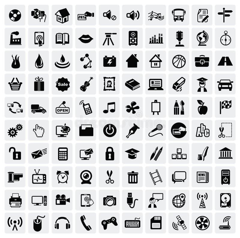 100 rengöringsduksymboler stock illustrationer