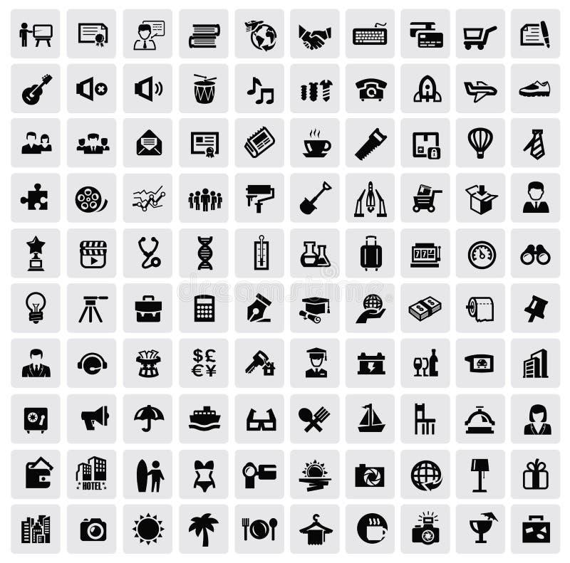 100 rengöringsduksymboler royaltyfri illustrationer