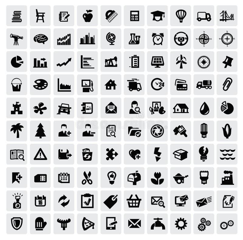 100 rengöringsduksymboler vektor illustrationer