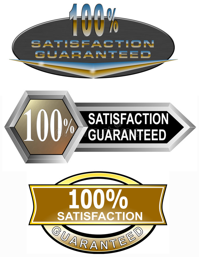 100  Satisfaction Guaranteed Stock Photo