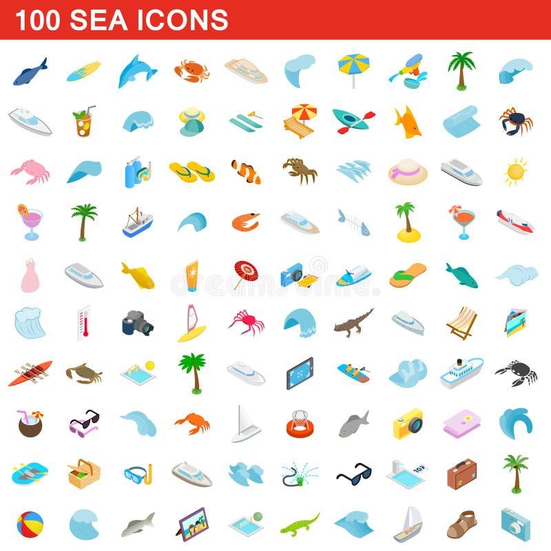 Free 100 Sea Icons Set, Isometric 3d Style Stock Image - 127092291