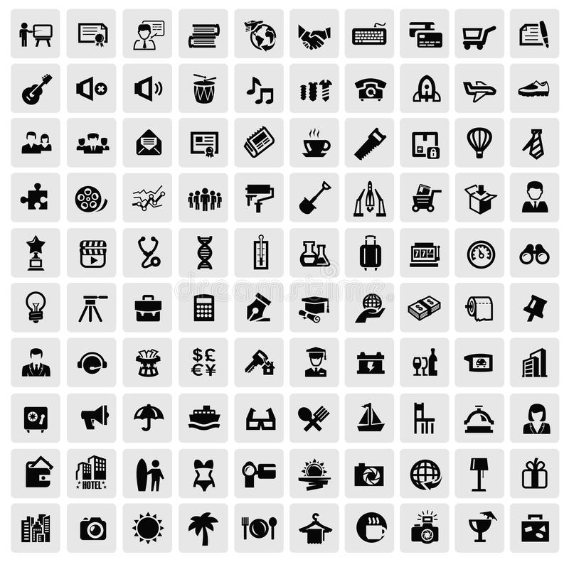 100 sieci ikon royalty ilustracja