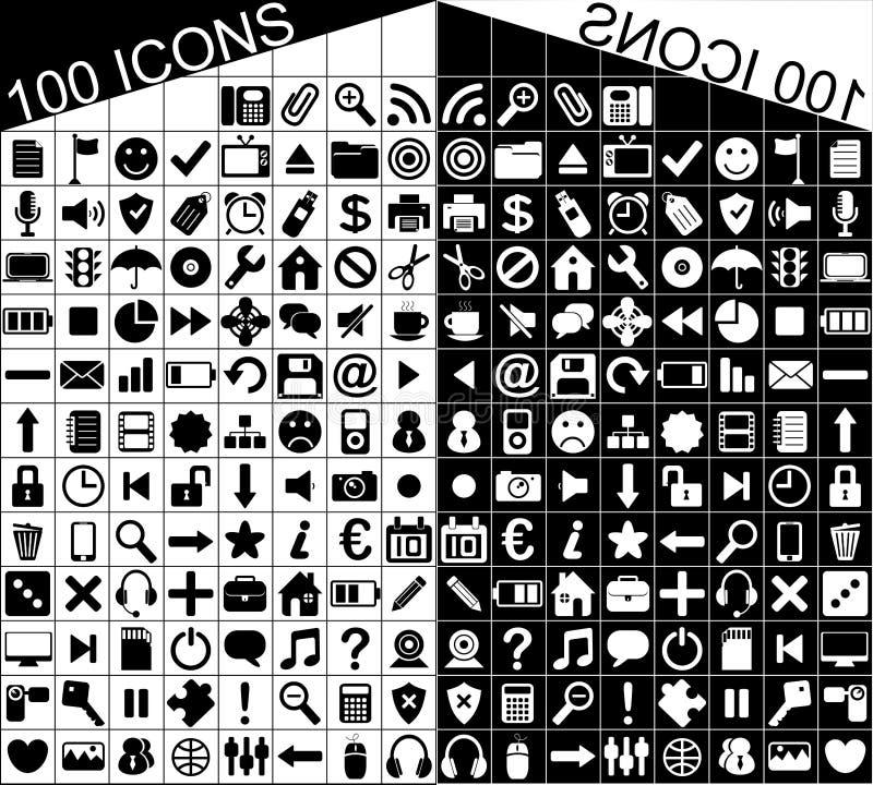 100 svartvita rengöringsduk- och applikationsymboler vektor illustrationer