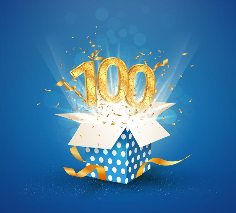 Free 100 Th Years Anniversary And Open Gift Box With Explosions Confetti. Isolated Design Element. Template Hundredth Birthday Royalty Free Stock Photography - 166526677
