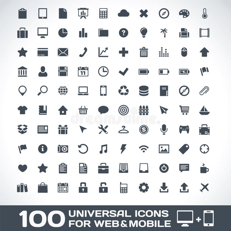 Free 100 Universal Icons For Web And Mobile Royalty Free Stock Image - 28223456