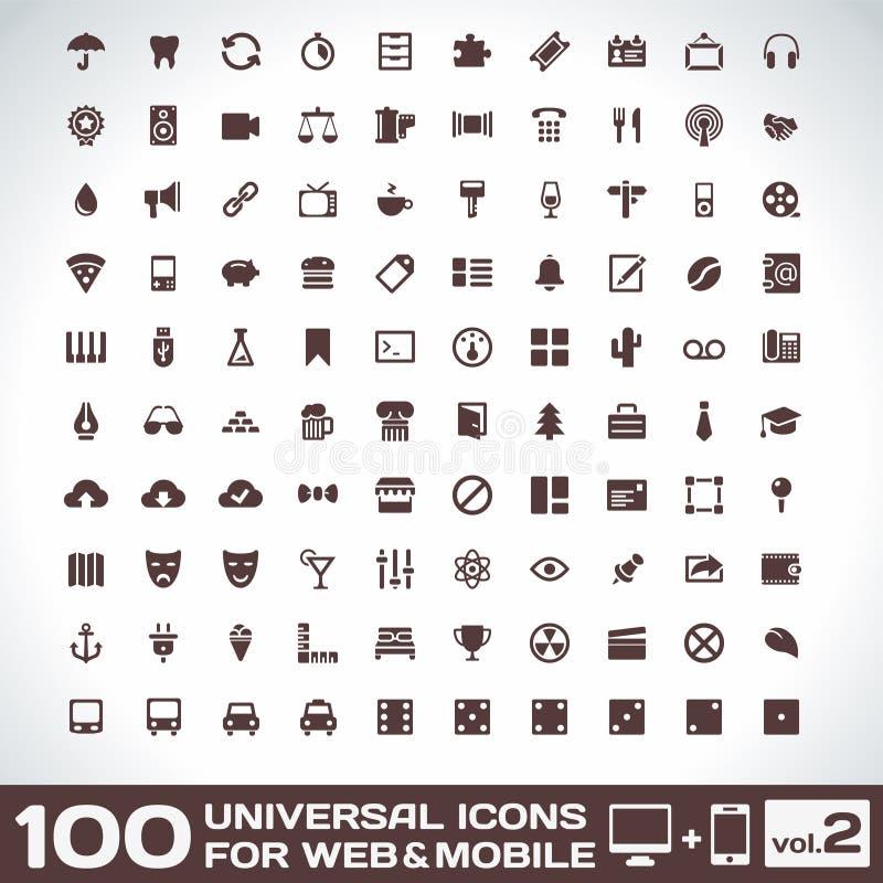 100 universella symboler för rengöringsduk- och mobilvolym 2 stock illustrationer