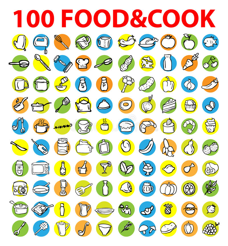 100 vector food & cook icons royalty free illustration