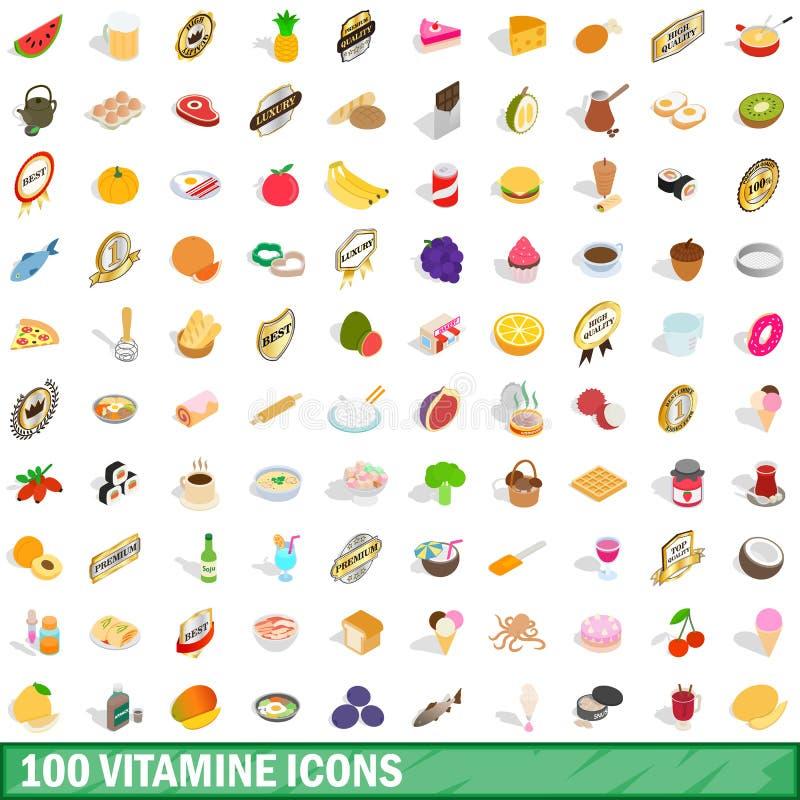 Free 100 Vitamine Icons Set, Isometric 3d Style Royalty Free Stock Image - 91568376