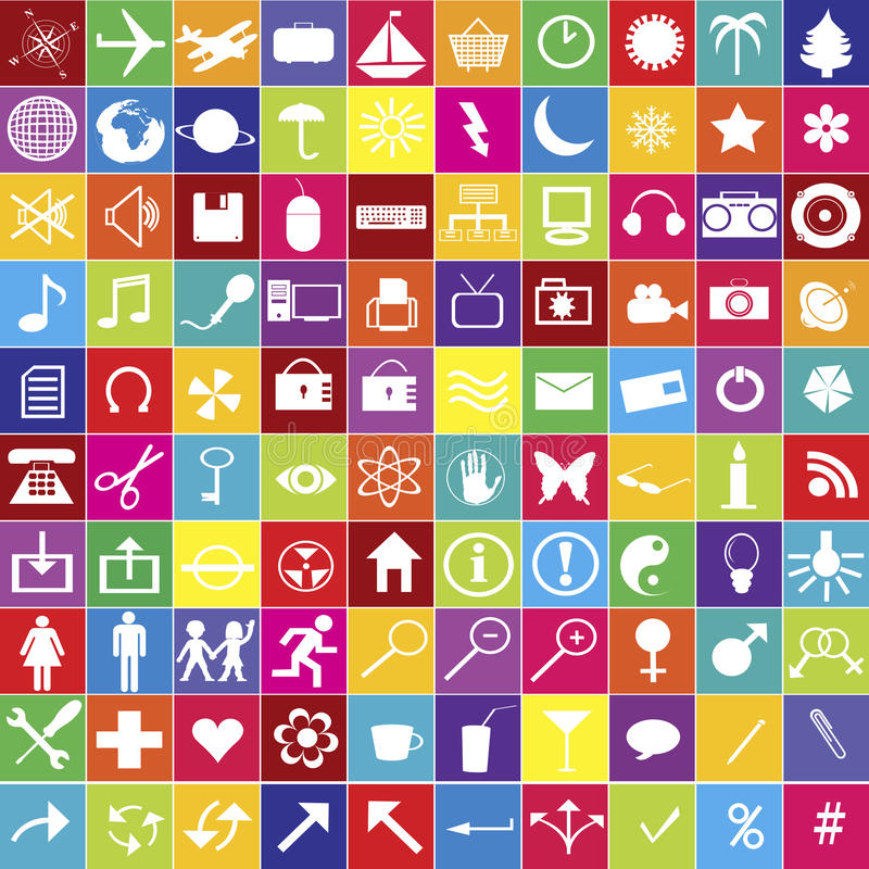 Download 100 Web Icons In Bright Colors Stock Illustration - Image: 15743603