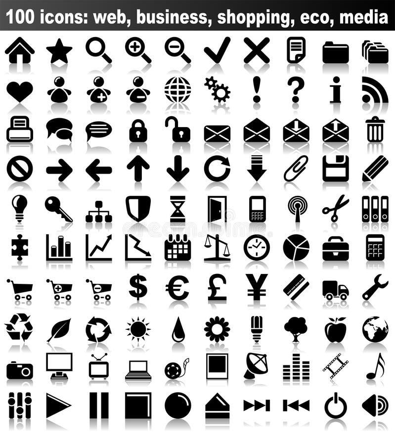 100 Web-Ikonen lizenzfreie abbildung