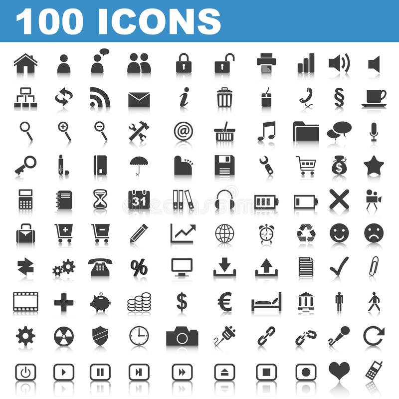 100 Web-Ikonen stock abbildung
