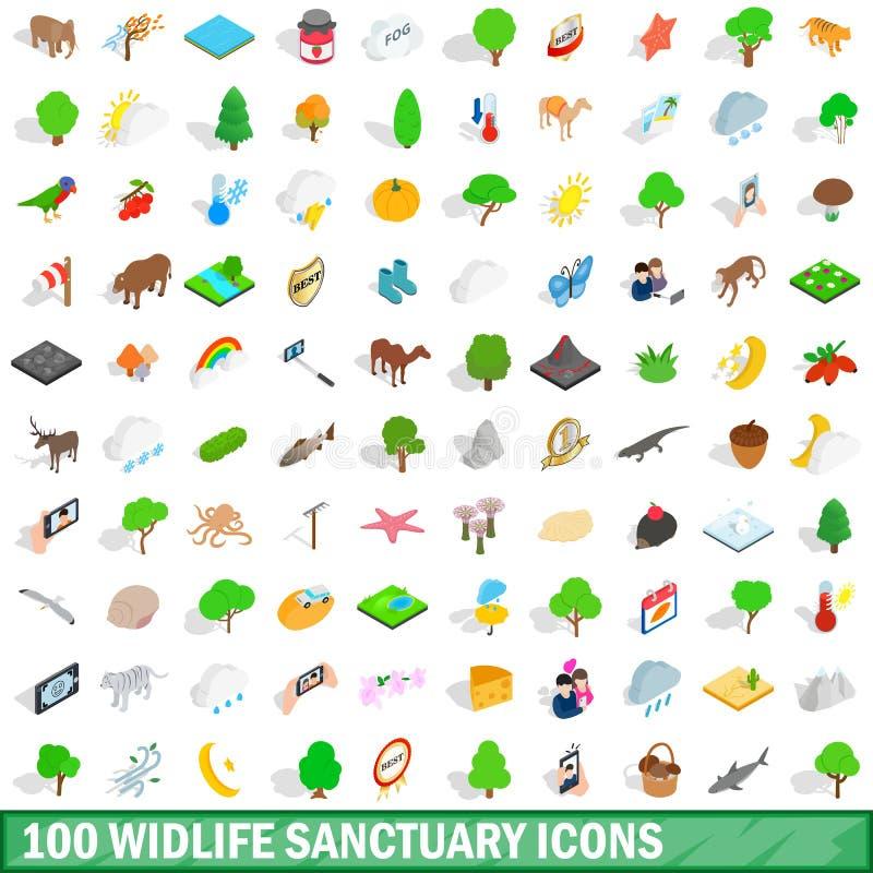 Free 100 Widlife Sanctuary Icons Set, Isometric Style Stock Images - 91568404