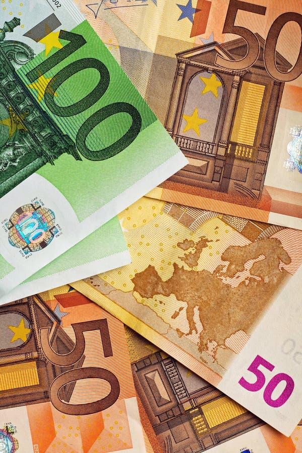 100 y 50 euros fotografía de archivo libre de regalías