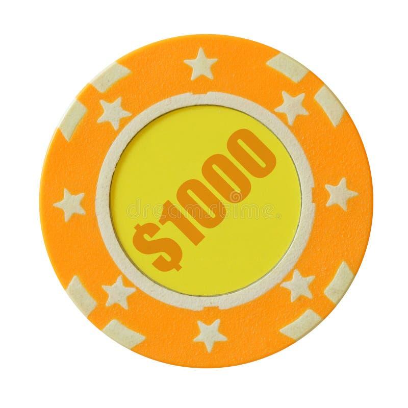 1000 dólares de microplaqueta do casino foto de stock