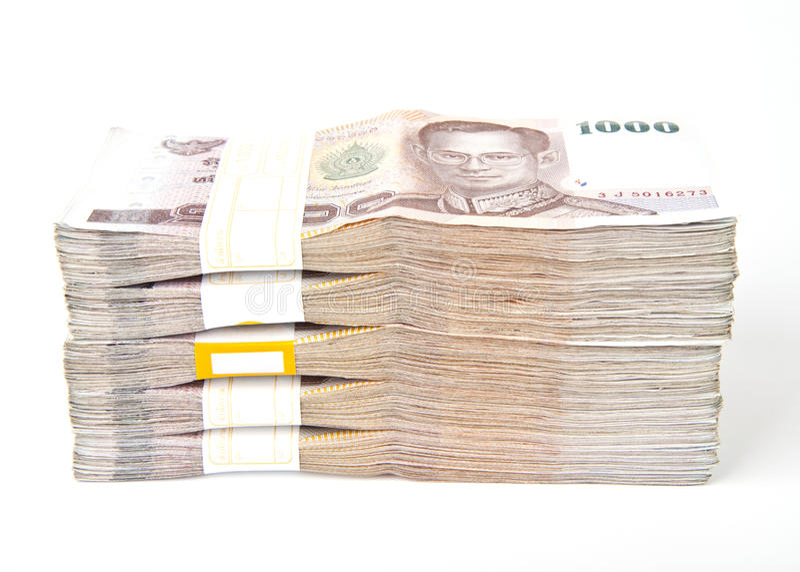 1000 geïsoleerdeg Bahtbankbiljetten. stock foto