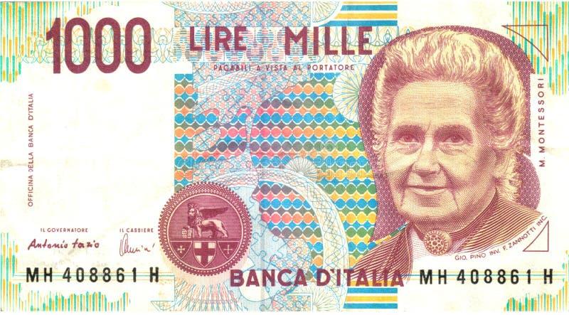 1000 Lire Stockfoto