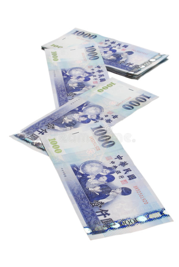 1000 New Taiwan Dollar bill. On white background royalty free stock photography
