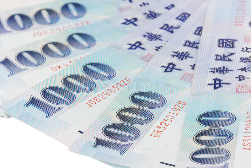 1000 New Taiwan Dollar bill. On white background royalty free stock photo