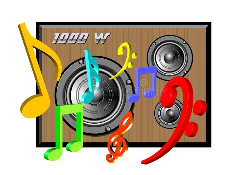 1000W audio system vector illustration
