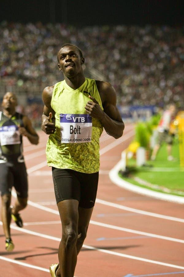 100m 2009年竞技螺栓最终精神usain世界 免版税库存图片