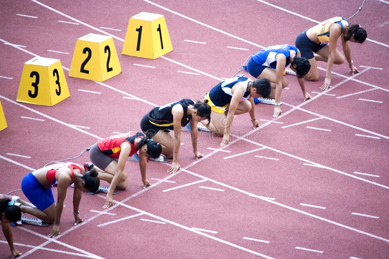 100m Hindernissen van vrouwen stock foto's