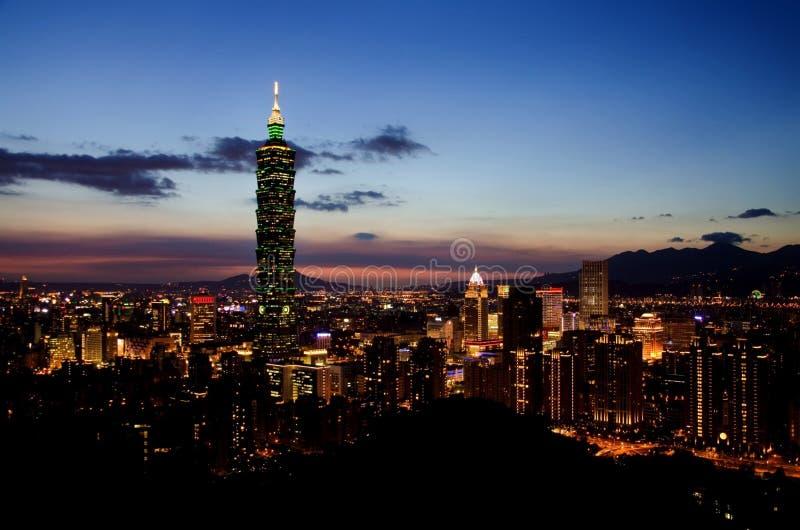 101 Tower, Taipei, Taiwan at night stock photo