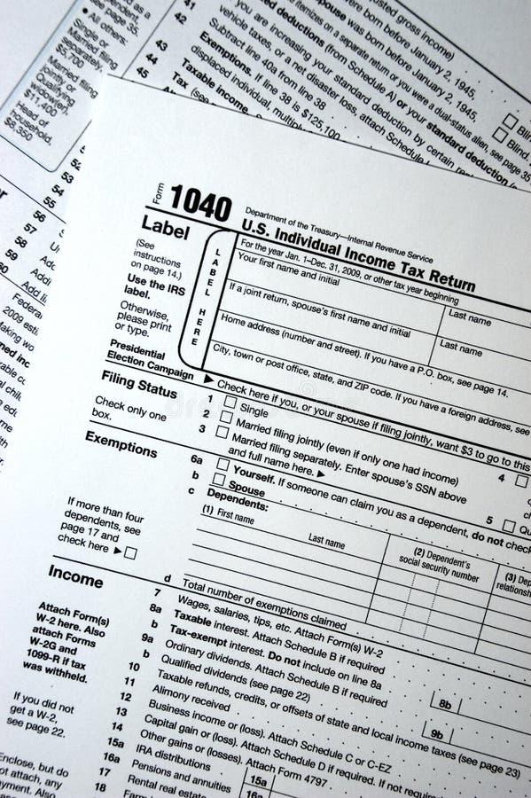 1040份联邦表单表单抱怨税务纳税我们 库存照片