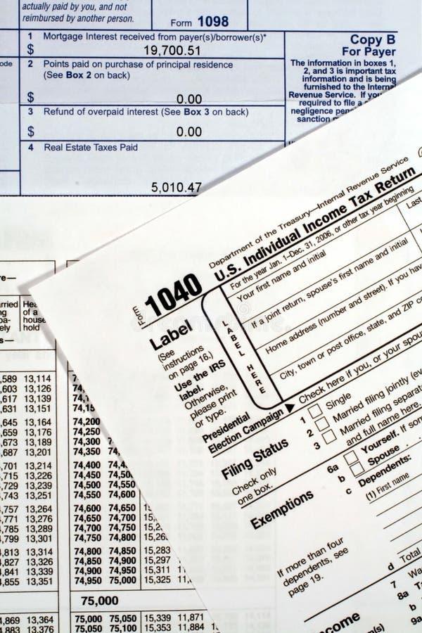 1040份表单收入回归税务 免版税库存图片