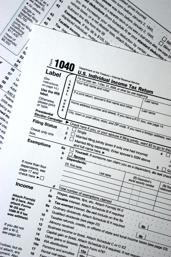 1040 Steuerformular, Ebene, einfaches Konzept stockfoto