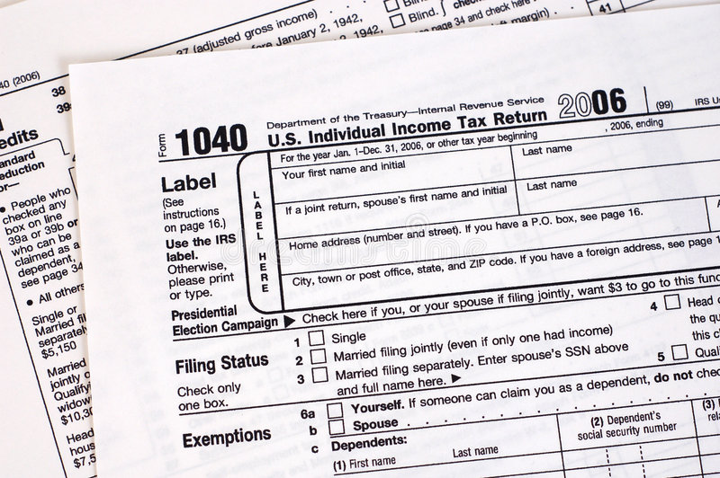 1040 Tax Form (USA) stock photo
