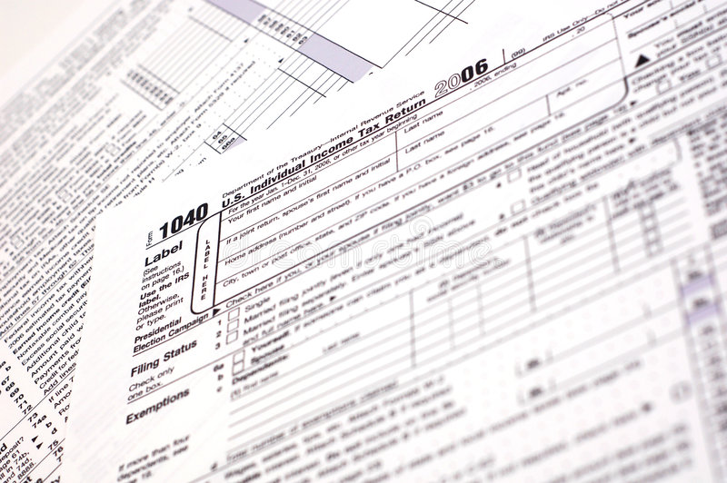 1040 Tax Form (USA). A US income tax form stock photography