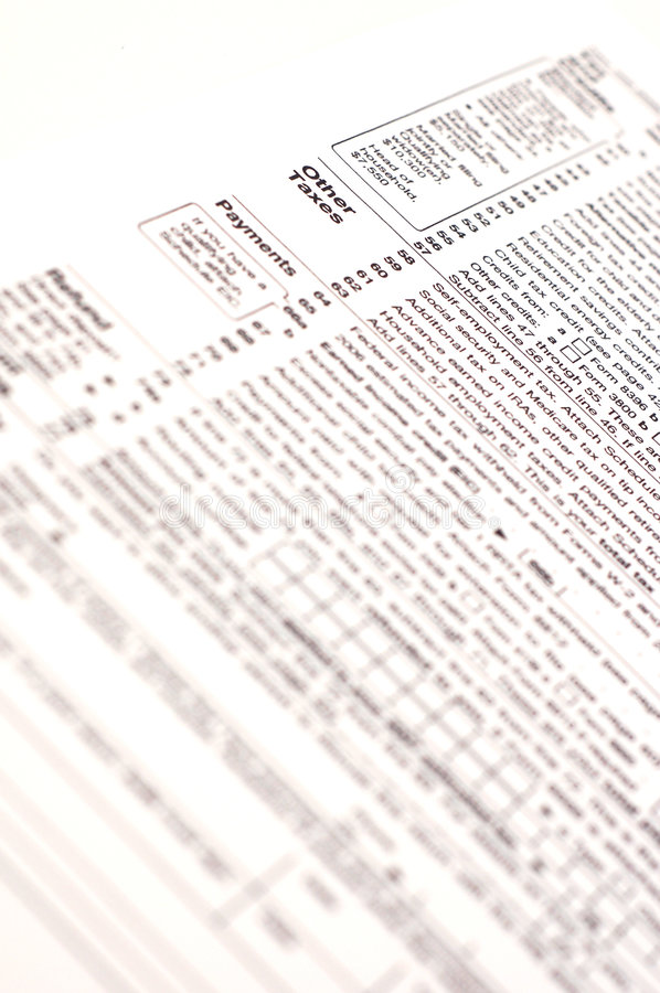1040 Tax Form (USA). A US income tax form royalty free stock photo